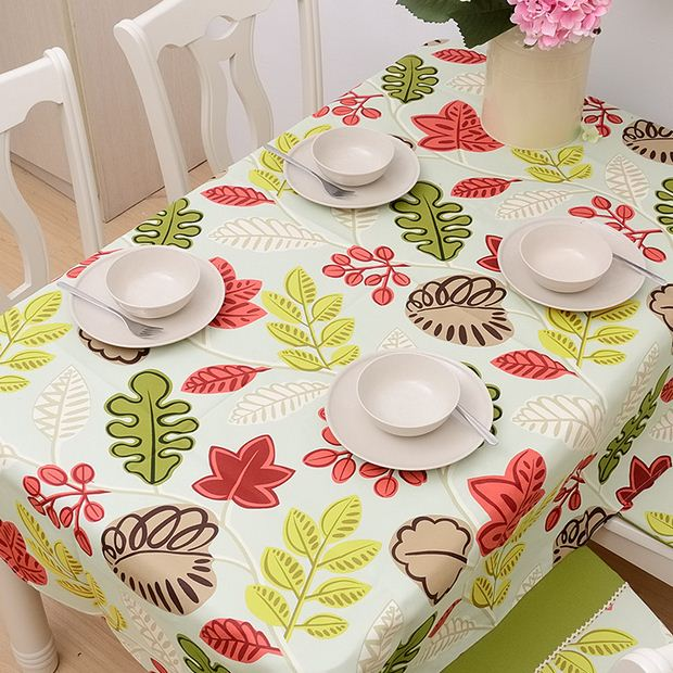 High Quality Cotton Table Cloth Colorful Flower Leaf Print Nappe Tablecloth Dustproof Coffee Table Cover Toalha