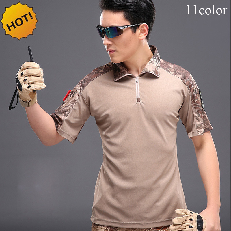 New 2018 Summer Cargo Tactical Army Military Soldiers Camouflage Short Sleeve Combat Uniform Quick Dry T Shirt Men Fitness Shirt
