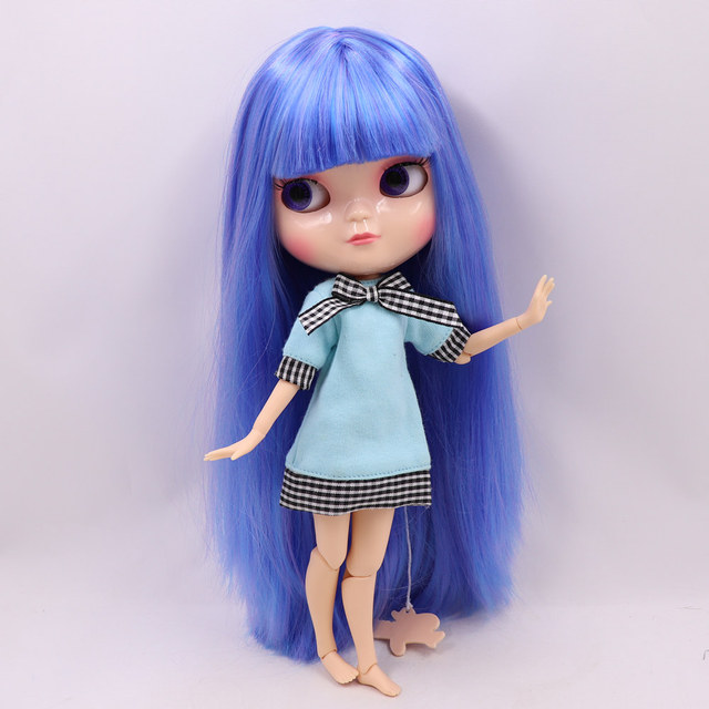 Ssmall chest 1/6 ICY nude doll Joint azone body blue mix purple straight hair No.7216/6208 30CM F&D free shipping