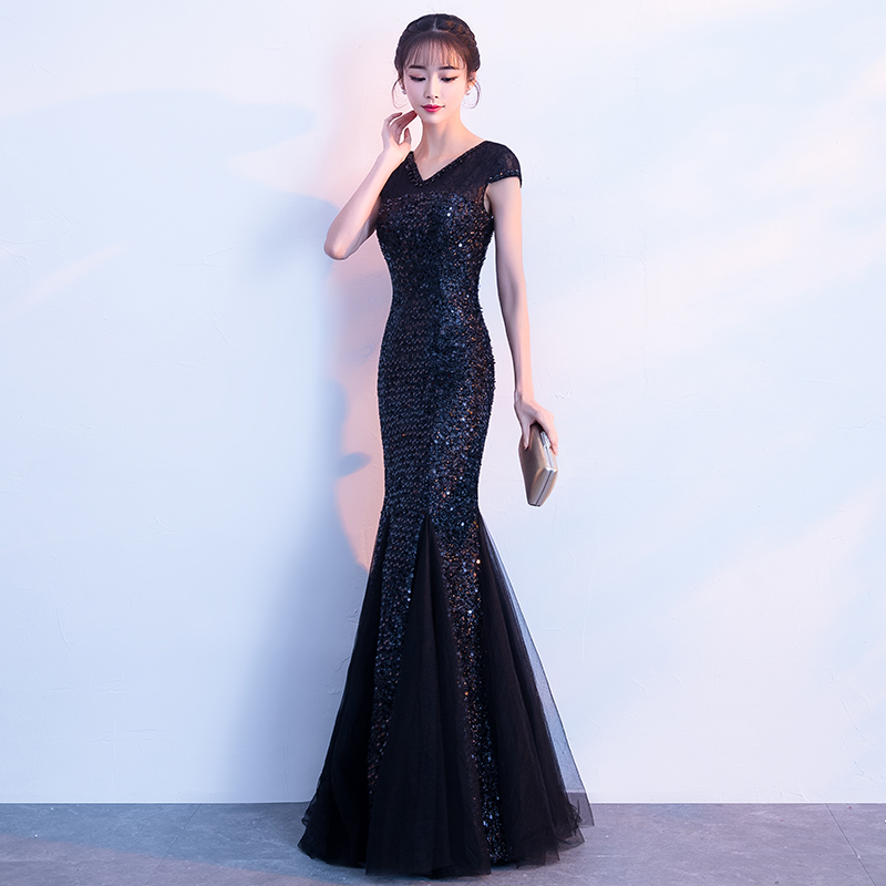Aswomoye Mermaid Evening Dress 2018 Short Sleeve Sequins Wedding Party  Dress Beaded V neck Prom Dresses Robe De Soiree-in Evening Dresses from  Weddings ... 292ba3be3445