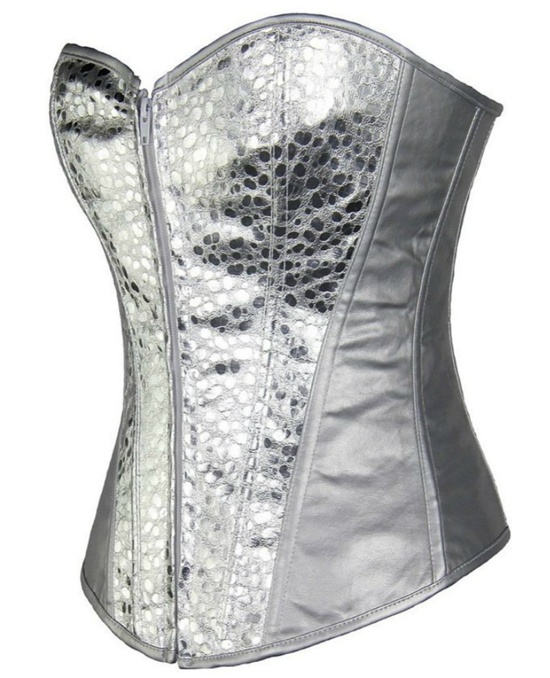 Image 3 - Sapubonva women vintage style corset bustier top gold silver overbust corset leather nightclub sexy corset lingerie strapless-in Bustiers & Corsets from Underwear & Sleepwears
