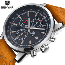 Watch Men Top brand Luxury Benyar Sport Quartz wristwatch clock Mens Watches Leather Business Waterproof watch Relogio Masculino цена и фото