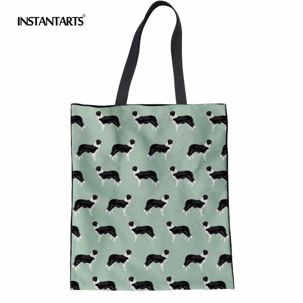 INSTANTARTS Cute Border Collie Pattern Women Tote Casual Canvas Handbags Eco-friendly Shopping Bags Canvas Linen Top Handle Pack
