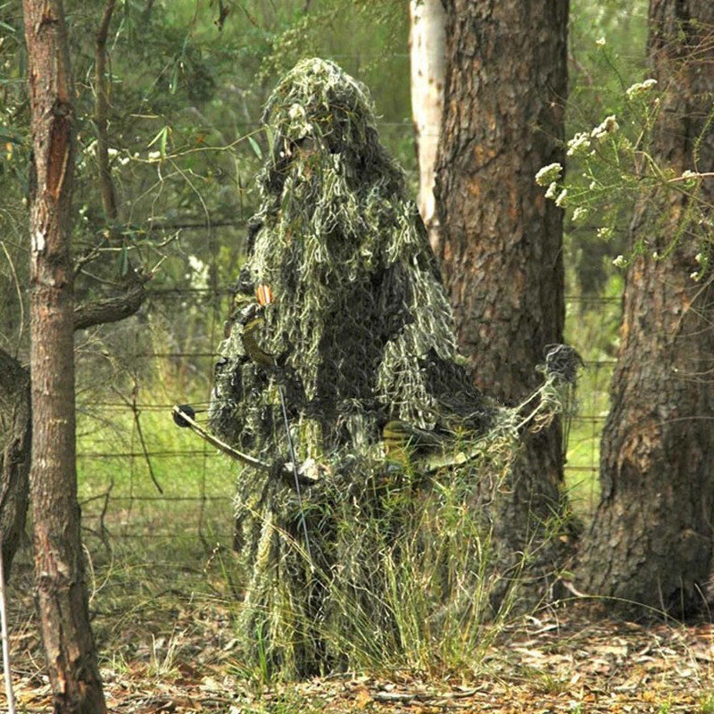 Military Camouflage Ghillie Suit Hunting Clothing Camouflage Shade Cloth Tactical Ghillie Suit Camouflage Hunting Shade Cloth camo suit outdoor game military hunting and shooting accessories tactical camouflage clothing blind for airsoft wildlife photog