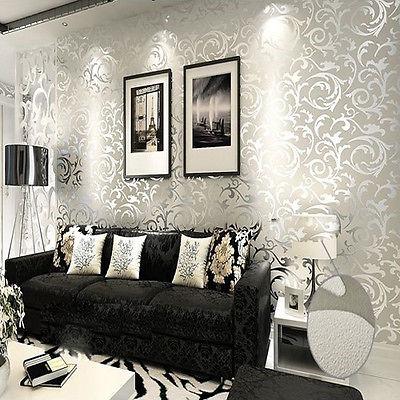ФОТО Q QIHANG High-grade Flocking Wallpaper Roll silver and gray Color 0.53M*10M=5.3 SQM