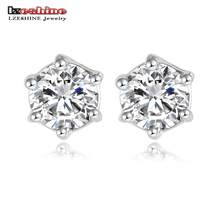 LZESHINE Brand Mini New Earrings Design Rose Gold Color SWA Elements Austrian Crystal Round Stud Earrings ER0214-A(China)
