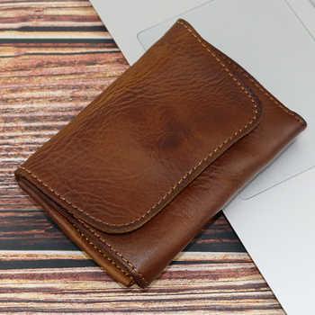 2019 Genuine Leather Card Holder Men Women Vintage Handmade Short Credit Card Holders Coin Purse Case Small Slim Wallet For Male