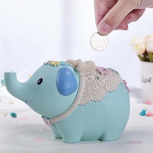 Cute Elephant Shaped Resin Piggy Bank Coin Bank Children Kids Money Saving Box Birthday New Year Gift Toys Home Decor Figurines