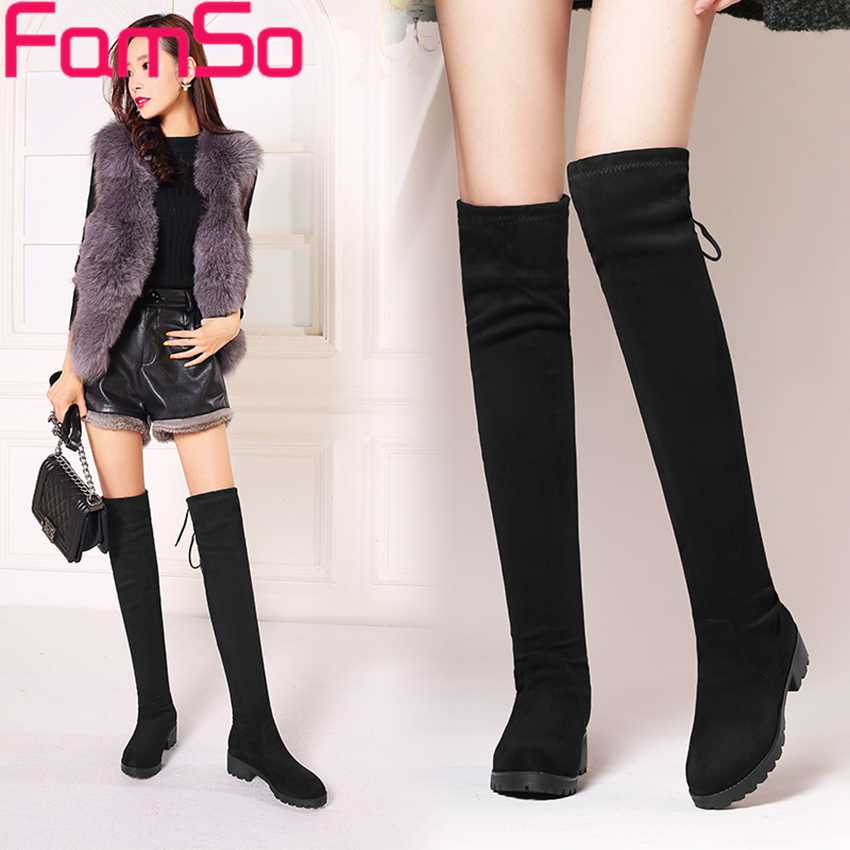 Free shipping 2016 New Classics font b Women b font Boots Black Over the Knee Boots