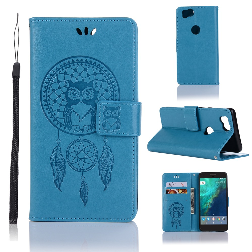 Capinha For Google Pixel XL 2 Case Pixel2 Leather Cases Flip Cover Magnetic Wallet Stand Pattern Owl Wind Chimes Phone Shell Bag