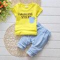 100% Algodón Bebé Ropa de 2017 Del Verano Niños de la Manera ropa de Los Muchachos Del Niño Que Arropan el sistema T-shirt + Pants 0-3 Años T533