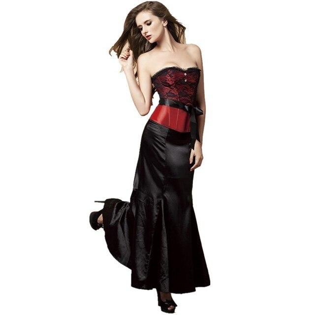 abfcc93ac € 40.14 |Encaje rosa satén de dama de honor corsé deshuesado con falda  larga de encaje fiesta de disfraces Corset Outfit negro rojo azul oro ...