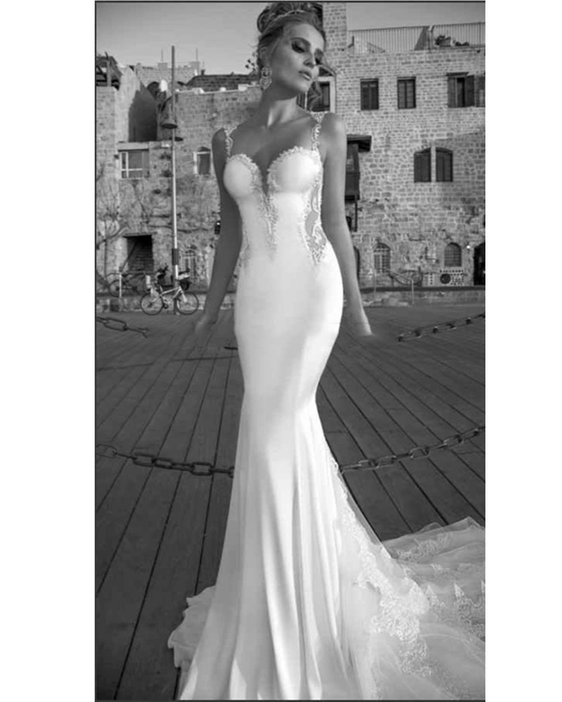 vestido de noiva 2017 New Fashion Sexy Sheer Back Lace Applique Bare Back Mermaid Wedding Dress Fitted Hip Bridal Gown Dresses