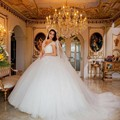 Luxury Pearls Ball Gown Cap Sleeve Wedding Dress See Through V Neck Appliqued Tulle Woman Bride Dresses robe de mariage