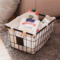 A1 Japanese style wrought iron storage basket books fruit storage basket home grocery storage basket wx11011046