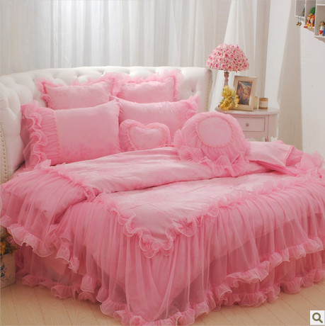 Round Bed Pink Princess Bedding Set Luxury Christmas King Size Comforter Unique Duvet Cover Twin Lace Skirt In Sets From Home Garden