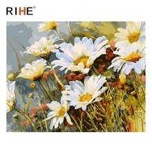 RIHE Bloomy Chrysanthemum Diy Painting By Numbers Flower Oil Cuadros Decoracion Acrylic Paint On Canvas Modern Wall Art