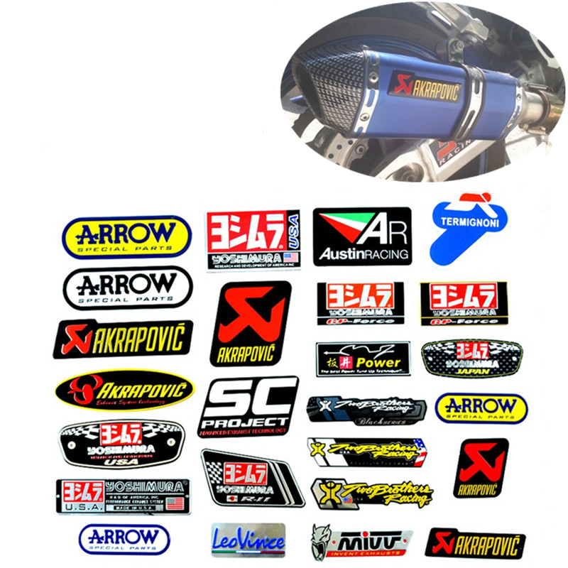 2x Aluminum Heat resistant Motorcycle Exhaust Pipe Sticker Yoshimura USA Decal