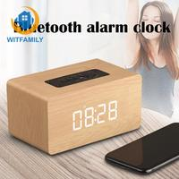 Retro wooden clock with TF card Portable Wireless Bluetooth Column Subwoofer smart radio alarm clock with soonze function