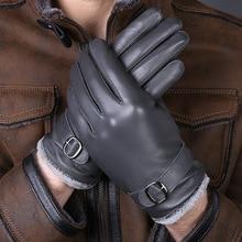 New Designer Luxury Men Gloves Drive 100% real Genuine Leather Sheepskin Mittens Warm Winter Gloves for fashion Male Glove luvas