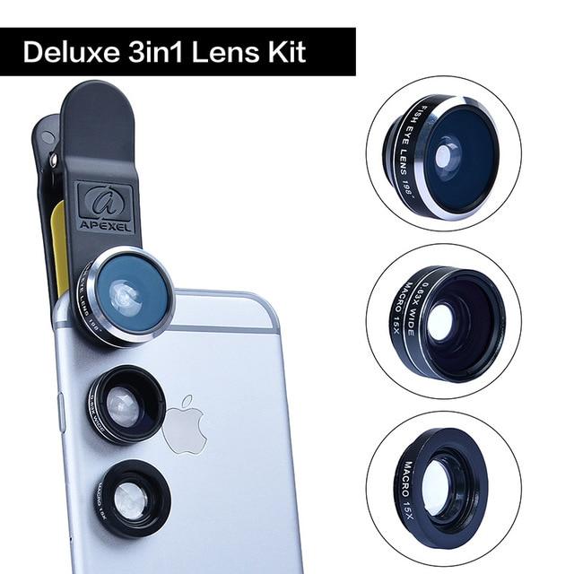 APEXEL 3-en-1 de 198 grados de ojo de pez + lente gran angular de lente macro gran angular 0.63X móvil universal para todo el teléfono móvil