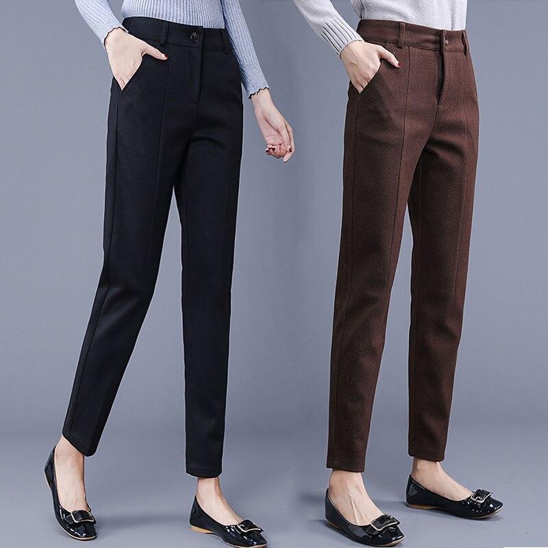 Autumn Winter New Casual Trousers Women Slim Woolen Harem Pants Female Pencil Pants Ladies Clothing Pantalon Femme