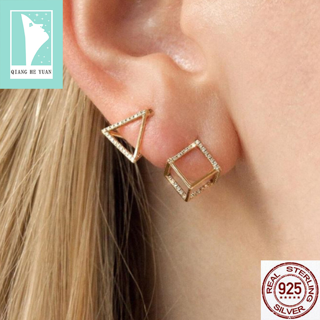 100% Real Silver Triangle and Cube  3D Geometric  earrings with CZ stones for women or men Newfangled style