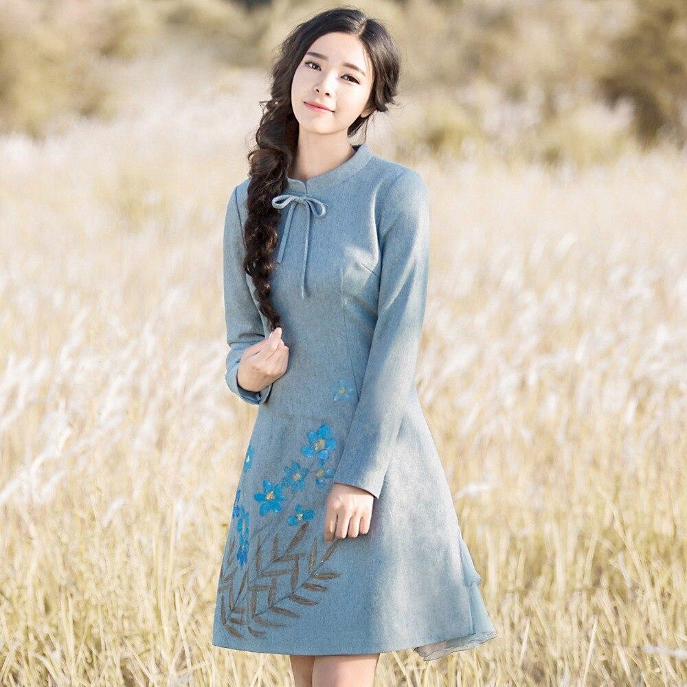 2016 herbst Frauen kleid Vintage Retro Elegante Stehkragen Langarm Tunika Vestidos-in Kleider aus Damenbekleidung bei  Gruppe 2