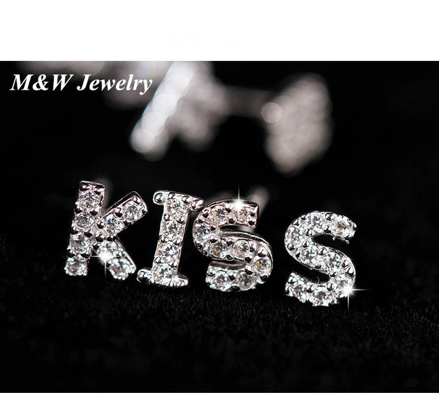 women candy new english item stud jewelry pendientes kiss cartoon fashion fluorescent earrings for letter color