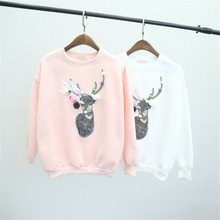 New Women's Sweatshirt Winter 3D Sewing Deer Hoodies Plush Ball Long Sleeve O-neck Causal VS Pink Tracksuit female Sudaderas