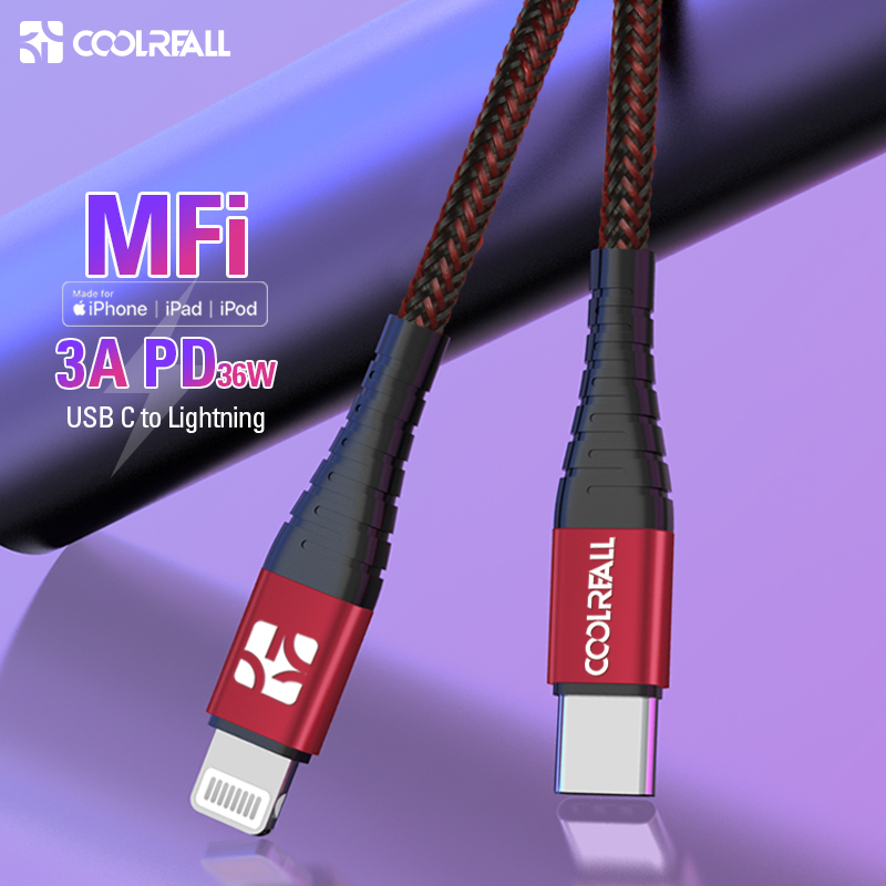Coolreall 36 w mfi certificou usb c para relâmpago pd tipo de carregamento rápido cabo c para iphone x max xs xr 8 plus ipad pro mini carregador