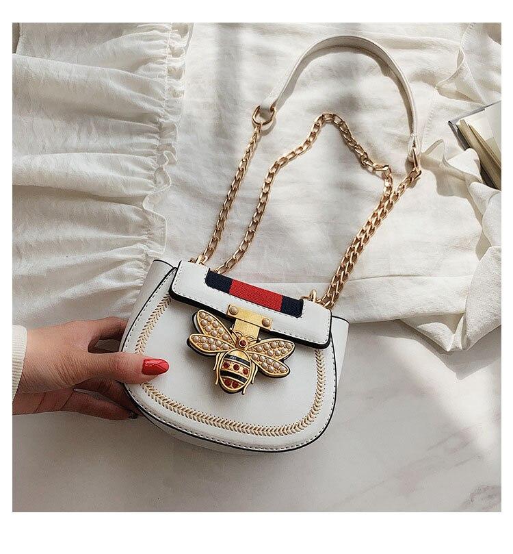 Imitation Designer Bags Fashion Bee Shoulder handbag for women Luxury Round PU Cross body Chain Bag Pearl Metal Lock Women's Bag (5)