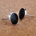 2017 hot sell fashion black men`s earrings 925 sterling silver men stud earrings jewelry wholesale anti-allergic gift
