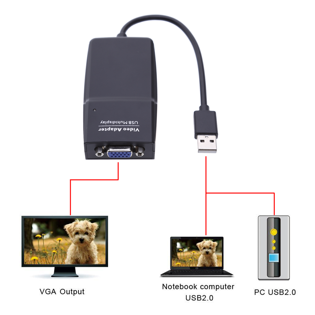 USB 2.0 to VGA Adapter 1920*1080 External USB Video Graphics Card Multi-Display Audio Converter Cable for PC Notebook Computer