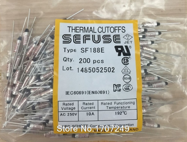 Free Shipping (200 pcs/lot) Temperature fuse 192 degrees 10A 250V SF188E 192C metal shell thermal protector SEFUSE