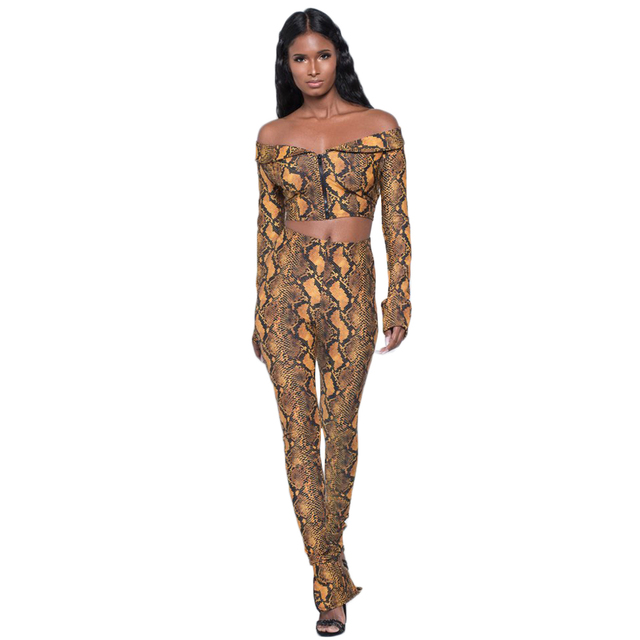 908e474971ae Sexy Women Sets Snakeskin Long Sleeve Print Jacket Bodycon Casual Jumpsuit  Playsuit 2PCS Crop Top Tank