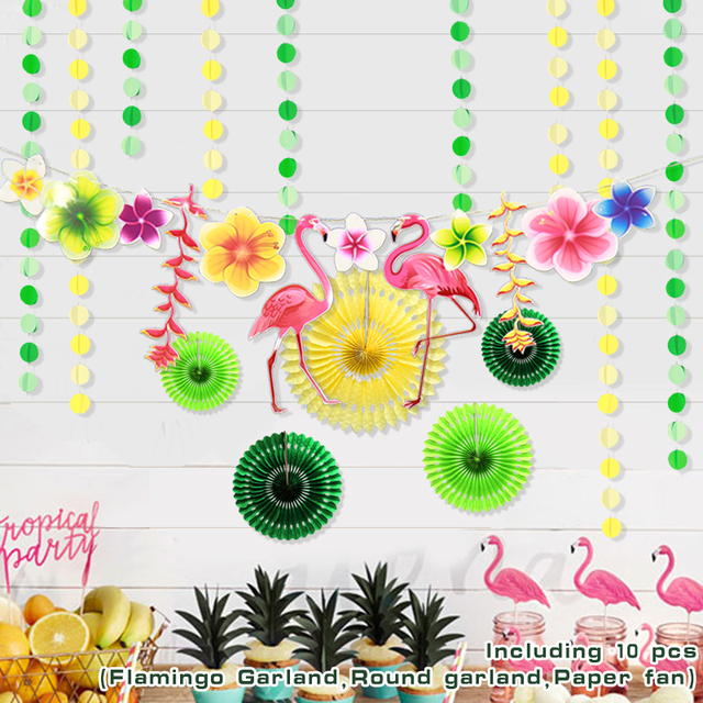 Flamingos Leaves Spring Theme Party Decor Swirls Paper Circle