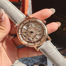 Gray Women Watch POP Rotation Dress Watches Real Leather Band Big Dial Bracelet Wristwatch Crystal Clocks Drop Ship