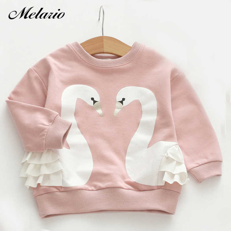 156ebcaba Melario Children Tops 2019 Fashion Style Girls Shirts Long Sleeve O--Neck  Swan Pattern