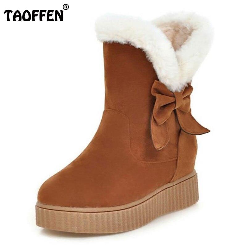 TAOFFEN Size 34-43 Women Platform Snow Boots Bowtie Half Short Thick Bottom Boots Winter Shoes Women Warm Botas Women Footwears