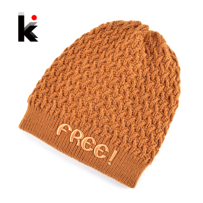 Winter Beanies Hat Men Embroidery Letters Knitted Wool Skullies Hats For Boy Add Velvet Double Layer Warm Hip Hop Gorros Hombre warm winter hat men s beanies embroidery letters bone double layer hip hop cap knitted wool hats for men caps plus velvet gorros