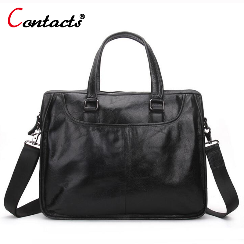 цены CONTACT'S Genuine Leather men Bag Casual Handbags Cowhide Crossbody Bags Men's Travel Bags Tote Laptop Briefcases Men Bag new
