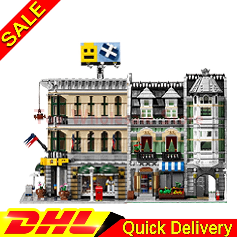 Lepin 15005 Grand Emporium + Lepin 15008 Green Grocer Model Building Street Sight Kits Blocks Bricks lepins Toy 10251 10185 lepin 15008 city street green grocer model building kits blocks bricks compatible educational toy legoing 10185 for children