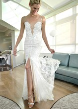 2015 Fall Bridal Wedding Gown Back Low Cut Fishtail V Neck Sweep Train Lace Front Slit Wedding Dress With IIlusion Strap MF490