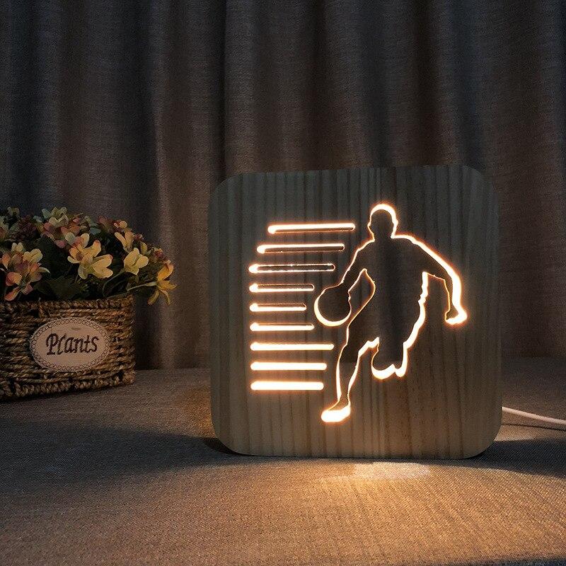 3D Wooden LED Basketball Hollow Design Night Light Bedside Lamp For NBA Basketball Fan Boys Birthday Gift Bedroom Decoration
