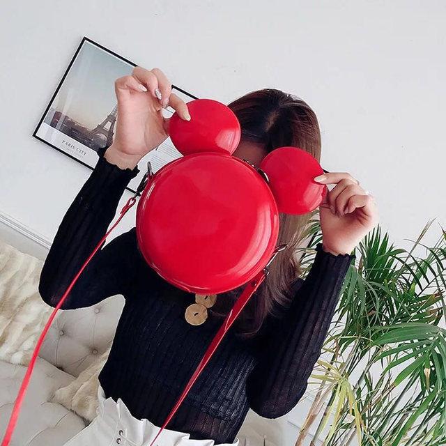 Heat Fashion Brand Design Women Mickey Shaped Bag Cute Funny Women Evening Bag Clutch Purse Chain Shoulder Bag for Birthday Gift 1