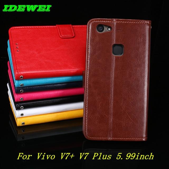 cozy fresh 8fb7f 6ed45 US $3.98 20% OFF Flip back Skin phones capa For BBK Vivo V7+ V7 Plus cover  leather wallet stand pouch For coque vivo V7 Plus Case 5.99