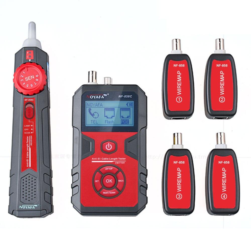 Noyafa NF858C LCD Cavo Tester Wire Tracker Localizzazione e di Misura Lenth per RJ11/RJ45 Coax Cable Tester con VFL e Funzione NCV
