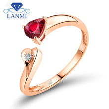 Special Design Pear Cut Natural Ruby Engagement Rings Solid 18K Rose Gold Diamond Jewelry for Ladies Loving Gift