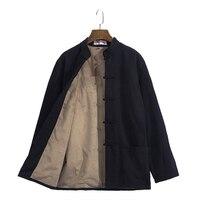 PLus size 4XL Men's Casual Thick Kung Jacket Winter Mandarin Collar Coat Male Long Sleeve Wu Shu Jacket Coat Cotton Parkas